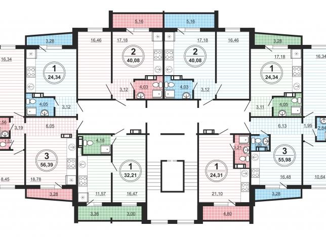 Планировки на 4-10 этажах