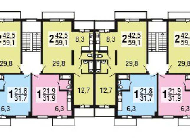 Планировки квартир, 2-3 этажи