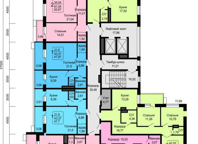 Планировки квартир, 14 этаж
