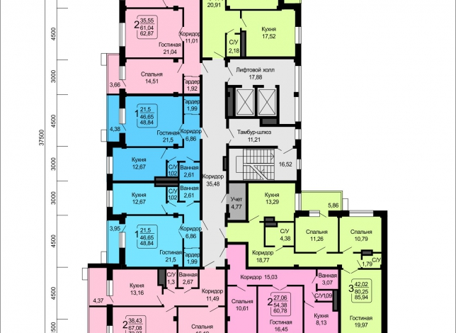Планировки квартир, 6 этаж